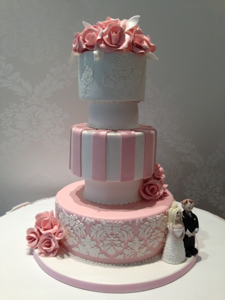 Wedding Cake Pink and White Damask Stripe Design with Flowers