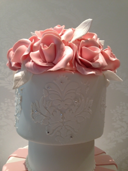 Wedding Cake Topper Pink and White Roses Damask and Stripes