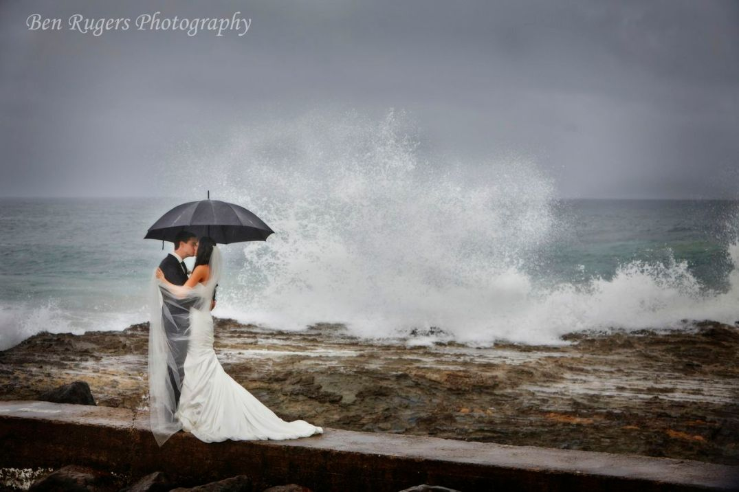 Gold Coast Broadbeach Wedding Beach Umbrella Wave Romantic