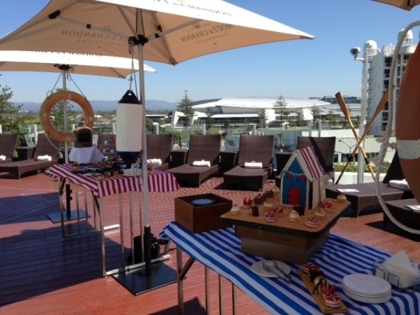 Morning tea, treats, pool deck, nautical theme