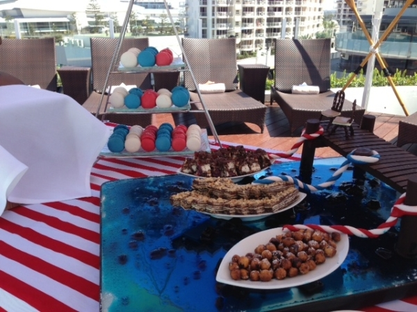 Nautical theme, morning tea, pool deck, macaron