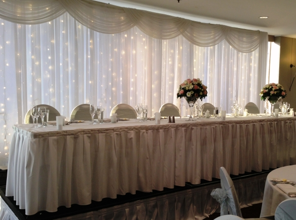 Wedding Reception Bridal Table Fairy Light Backdrop