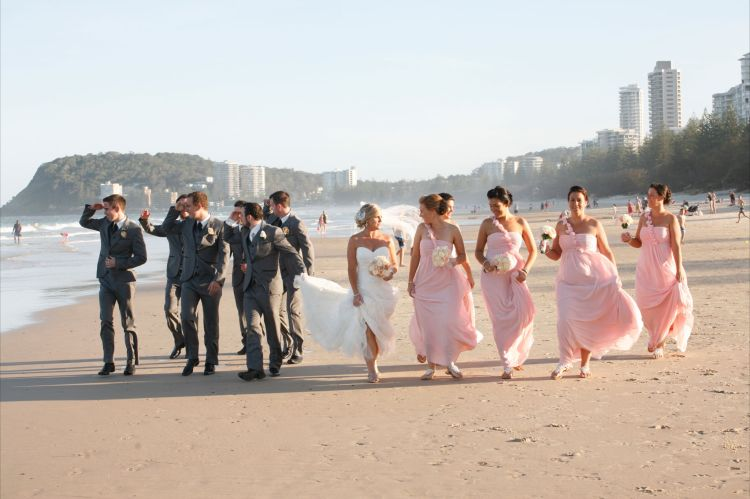 Beach Wedding Bridal Party Pink and Grey Theme
