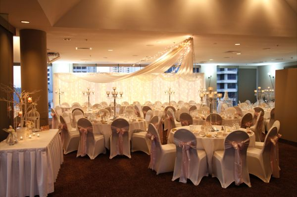 Broadbeach Room, Ceiling Draping, Fairylight Backdrop, Crytal Centrepieces