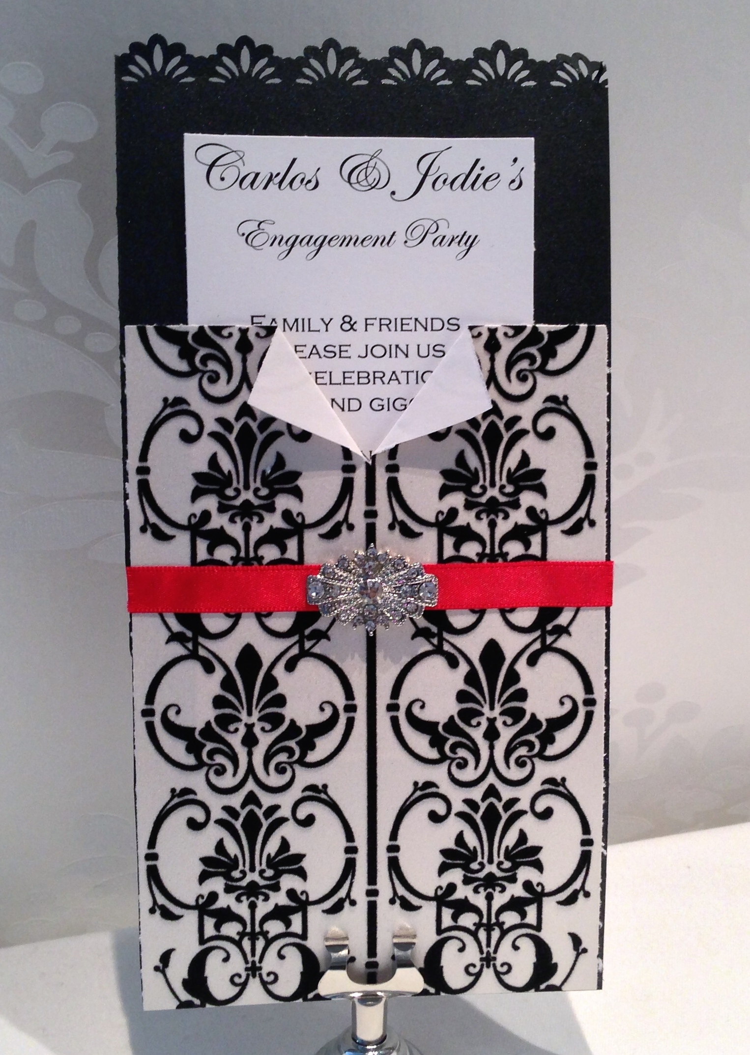 white damask ribbon buckle invitation black and white damask buckle red ribbon invitation