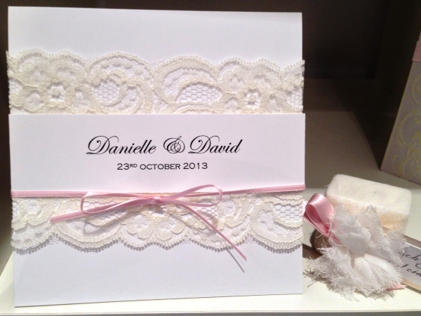 White Lace Pink Ribbon Invitation