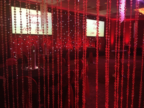 Red Uplighting Crystal Curtain
