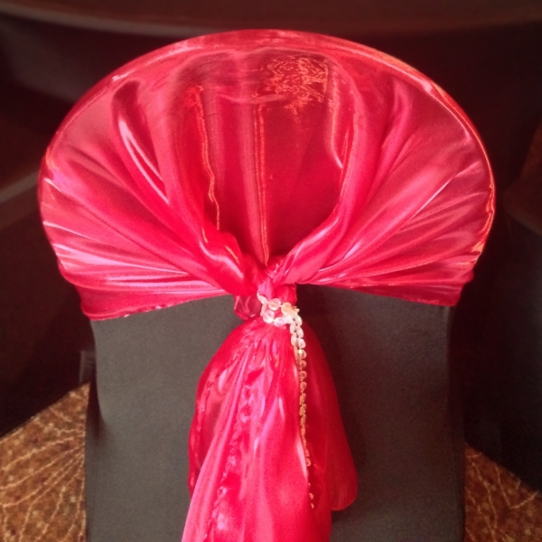 Black Chair Cover Red Sash Crystal Tie