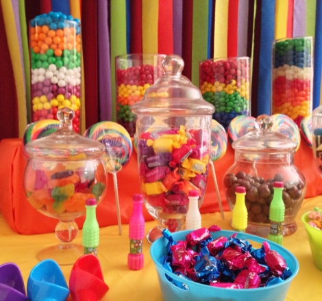 Colourful lollies on Candy Buffet