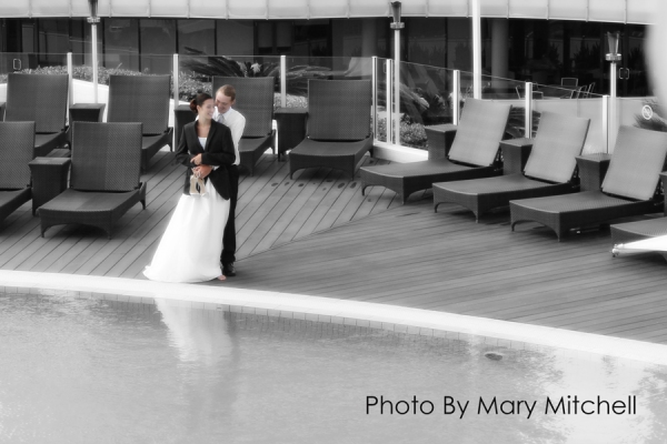 Bride and Groom Wedding Day Ceremony Jacket Pool Deck