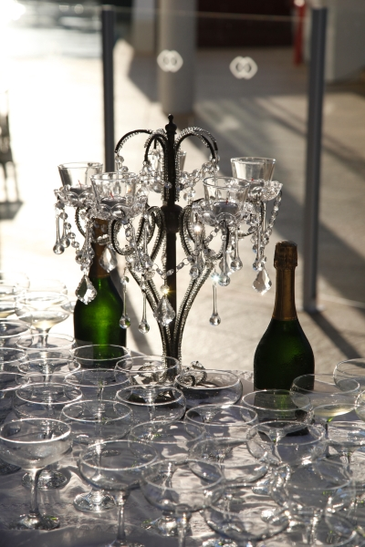 Champagne Saucers, French Champagne and Chandelier