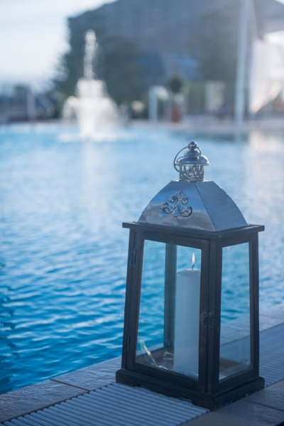 Pool Deck Fountain, Lantern and Candle