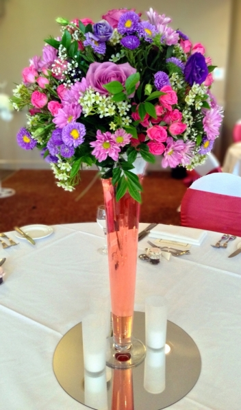 Wedding Reception Flowers Tall Vase Pink, Purple, Lilac, Mauve Flowers