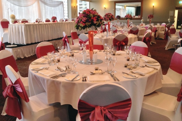 Wedding Reception Room Dusty Pink Sash Flowers Fairy Light Backdrop