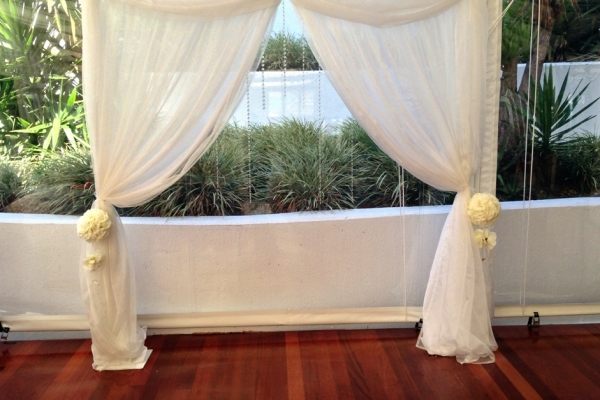 Wedding Arbour Ceremony Rose Balls Draping