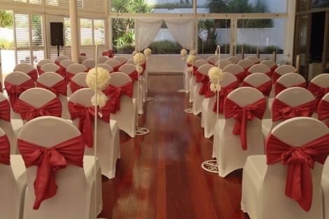 Wedding Ceremony Venue Arbour Chair Covers Dusty Pink Mauve Theme