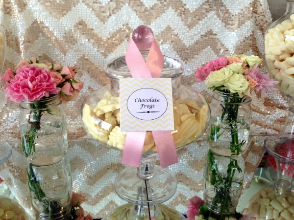 Pink and White Theme Candy Buffet and Flowers