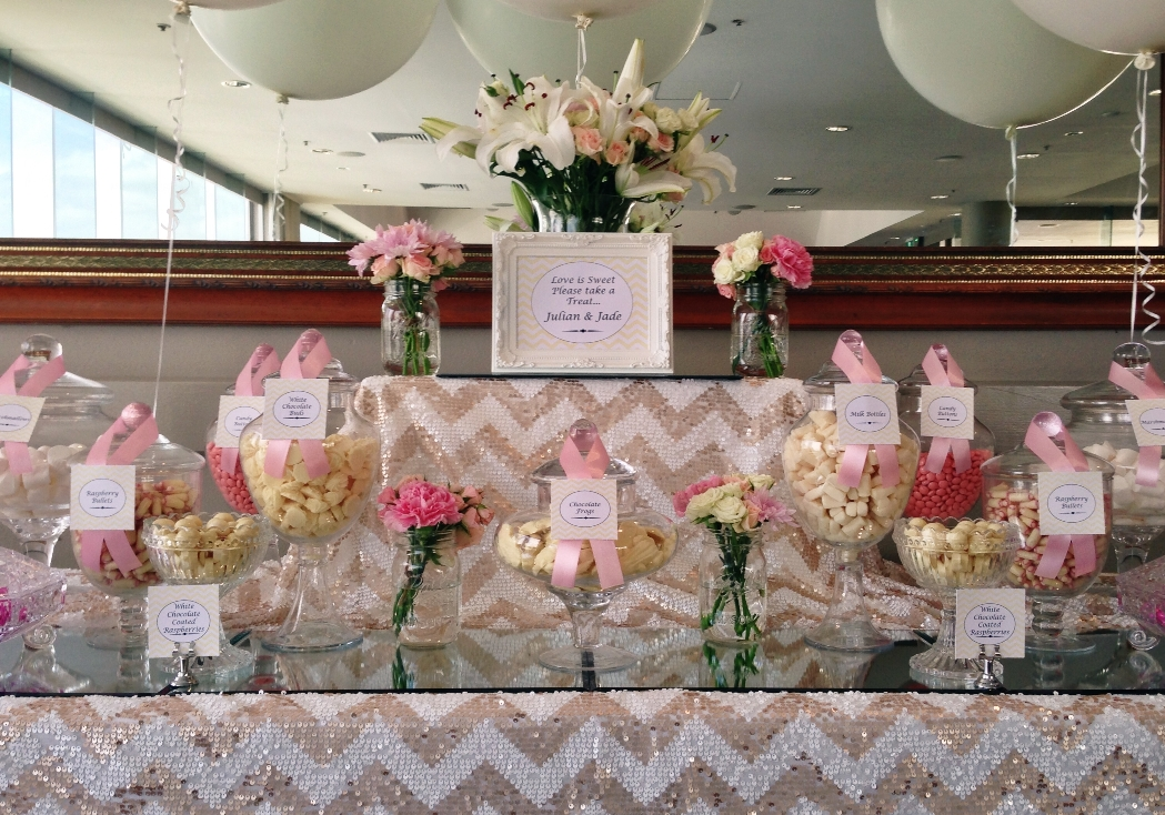 Candy buffet pink and white themed lolly candy buffet for wedding reception watchthetrailerfo