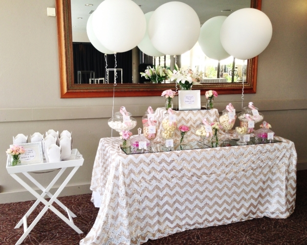 Pink and White Theme Candy Buffet and Giant Balloons