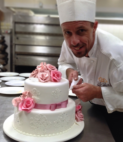 Pastry Chef Adam Hackett Wedding Cake Pink Roses