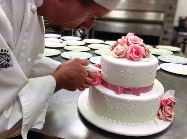 Pastry Chef Adam Hackett Wedding Cake Pink Roses Piping