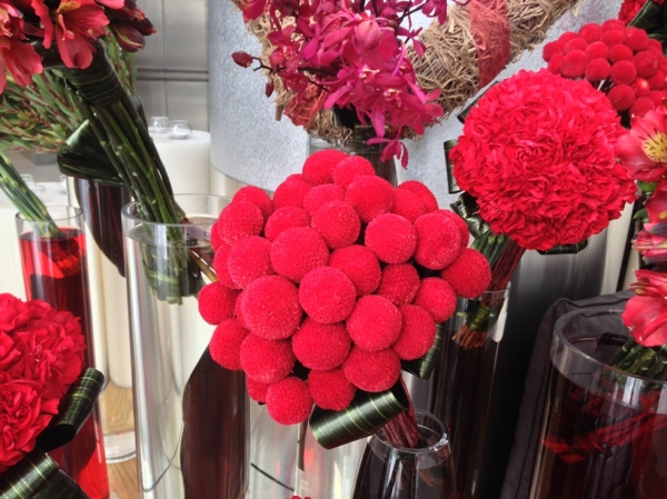 Valentine's Day Flower Display Red Pom Pom Flowers
