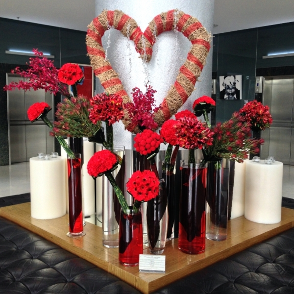 Valentine's Day Flower Arrangement in the Foyer