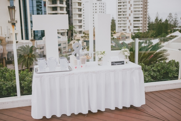 Wedding ceremony on the pool deck, refreshment table
