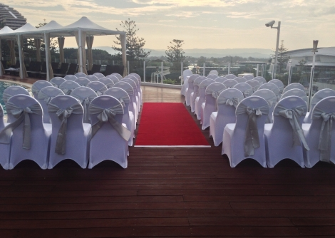 Pool Deck Wedding Ceremony at Sunset