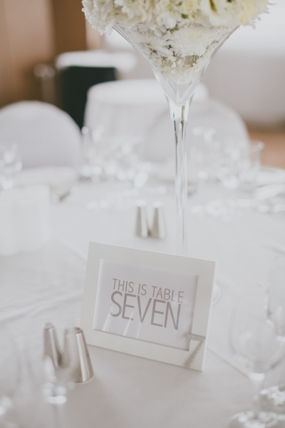 Sorrento Room Wedding Reception Venue Table Number
