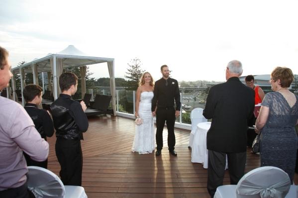 Wedding ceremony on the pool deck.