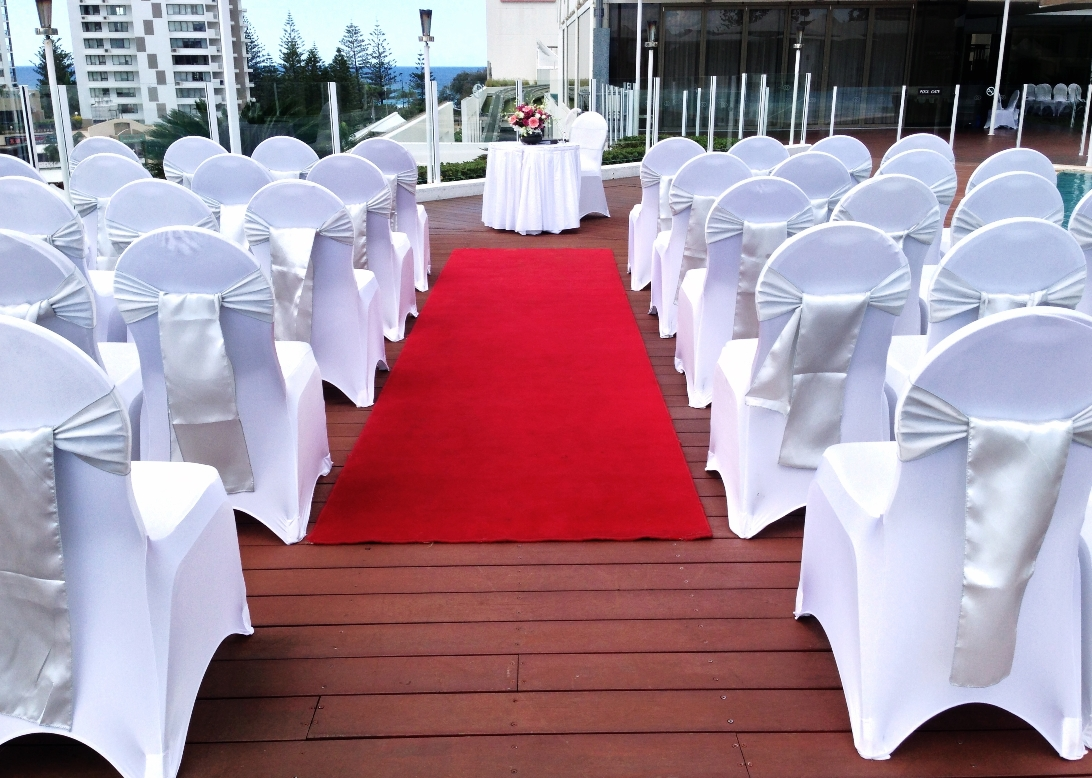 Wedding Ceremony On Pool Deck Silver Satin Sashes