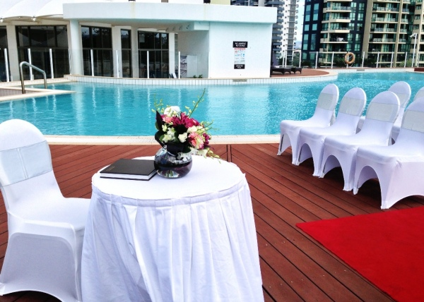 Wedding Ceremony Registration Table overlooking the Pool