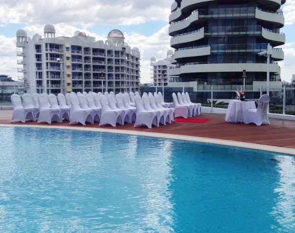 Pool Deck Wedding Ceremony Set Up