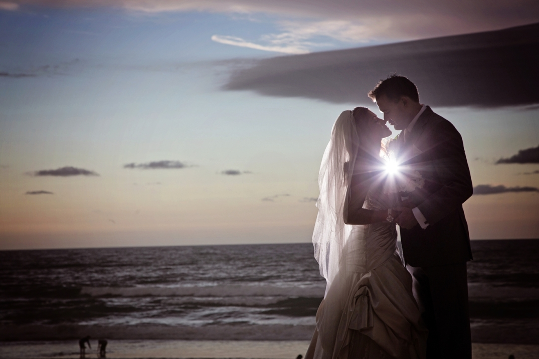 Sunset Beach Wedding Couple