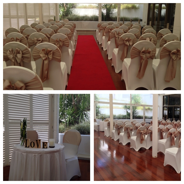 Wedding Ceremony Champagne Theme Theatre Style Seating