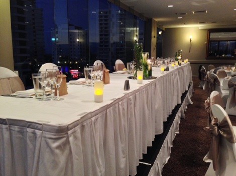 Bridal Table with Tea Light Candles and View