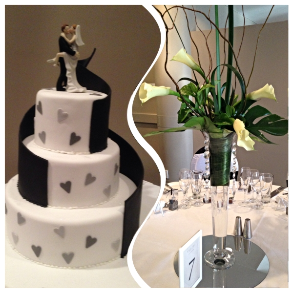 Black and white wedding cake and calla lily centre piece