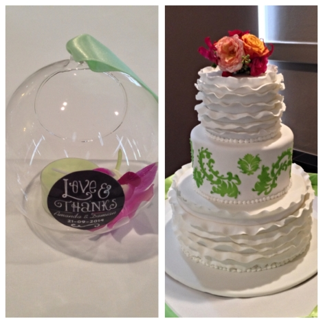 Wedding Cake with Apple Green theme and Frill Icing with Wedding Favour of Hanging Glass Candle Holder