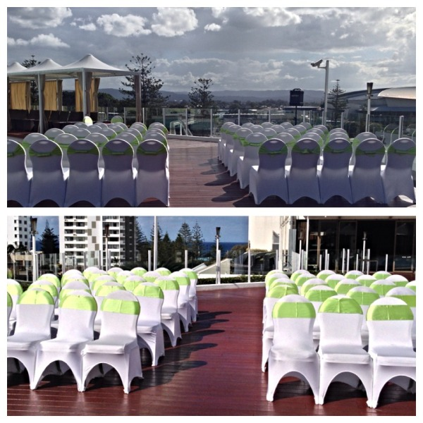 Wedding Ceremony on the Pool Deck with Apple Green Theme