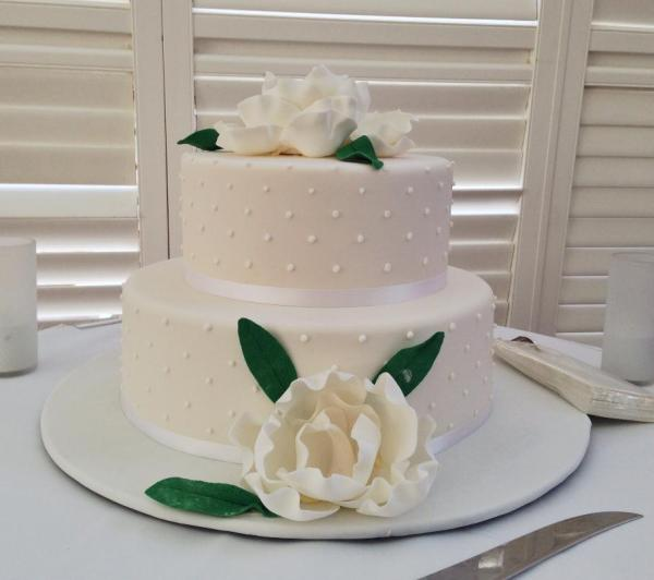 Wedding Cake with Spots and Flowers