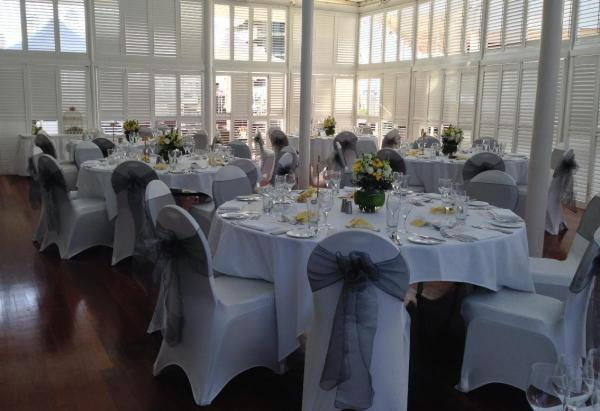 Wedding Reception in the Terrace Charcoal and Yellow Theme
