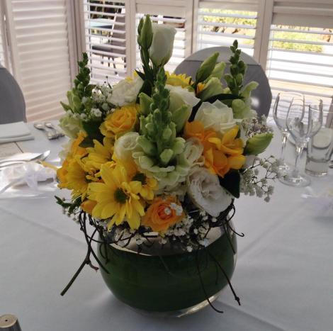 Fishbowl Centre Piece with Yellow and Green Theme